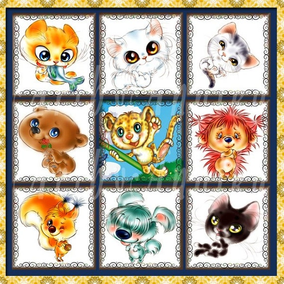 Funny Animals - 48 1x1 Inch Square JPG images - Digital Collage Sheet
