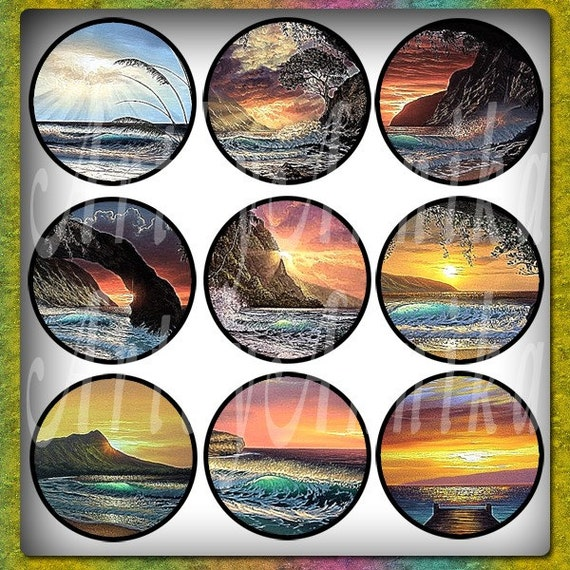 Digital Collage of Southern sunsets and night - 63 1x1 Inch Circle JPG images