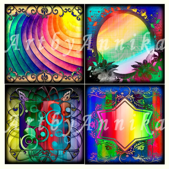 Digital Collage of Rainbow abstraction - 20 2x2 Inch JPG images - Digital Collage Sheet