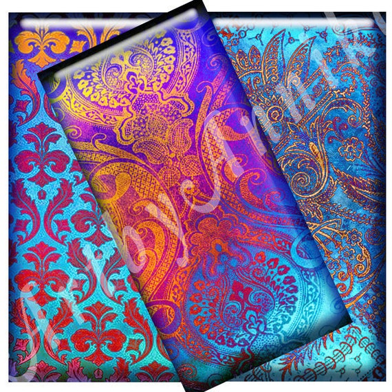 Digital Collage of Damask Bright Texture - 35 1x2 Inch JPG images