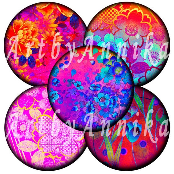 Digital Collage of Japanese flowers - 56 1x1 Inch Circle JPG images - Digital Collage Sheet