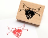 Love Birds Heart - Wood Mounted Rubber Stamp by Inkadinkado