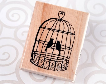 Love Bird Cage - Wood Mounted Rubber Stamp by Hampton Art