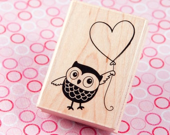 Owl and Heart Balloon - Wood Mounted Rubber Stamp from Hampton Art