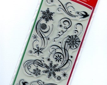 Clear Large Christmas Flourishes Stamps from Inkadinkado