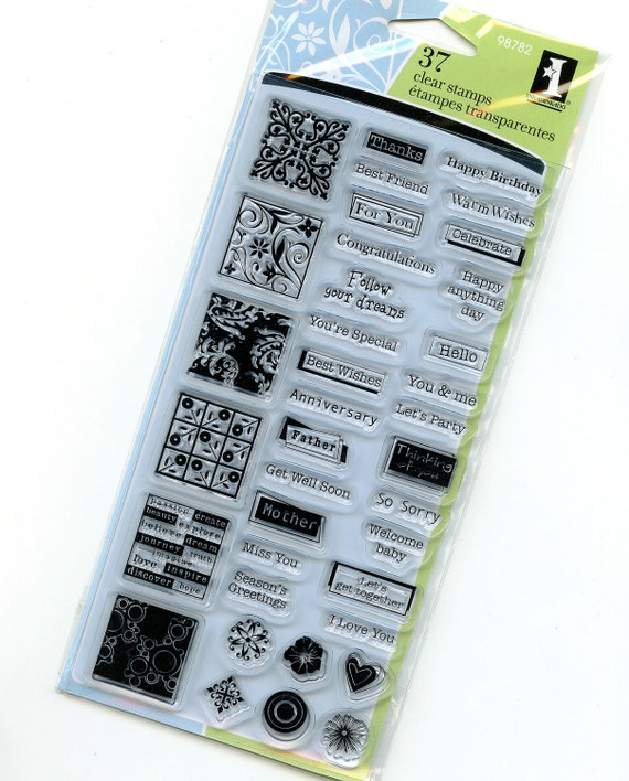 Greetings - Clear Acrylic Stamps from Inkadinkado