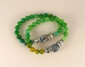 Stacked Stones Duo Bracelets in Green