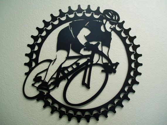 Metal Wall Decor Etsy : Bicycle rider metal wall art by sunsetmetalworks on etsy