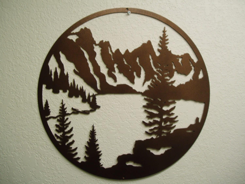 Metal Wall Art Mountain Landscapes : Mountain lake metal wall art