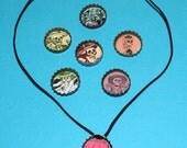 Vintage Skeletons with Color Bottlecap Necklace