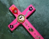Carousel Pink Day of the Dead Mexican Folk Art Cross