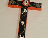 """Orange and Black """"Halloween"""" Day of the Dead Mexican Folk Art Cross"""