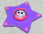Purple and Hot Pink Day of the Dead  Sugar Skull Bottlecap Magnet
