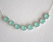 Custom Listing for Lindsay -- Mint Crystal Necklace in Sterling Silver.Mint Green Necklace.