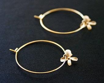 Gold Orchid Hoop Earrings. Round Earrings. Hoop Earrings. Minimalist. Flower Earrings.Delicate. Dainty. Good Hoops. Everyday. Gold Earrings