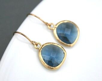 Sapphire Blue Earrings in Gold. Blue Earrings. Montana Blue Earrings. Bridesmaid Earrings. Bridesmaid Gifts.Wedding Jewelry.Bridal Earrings