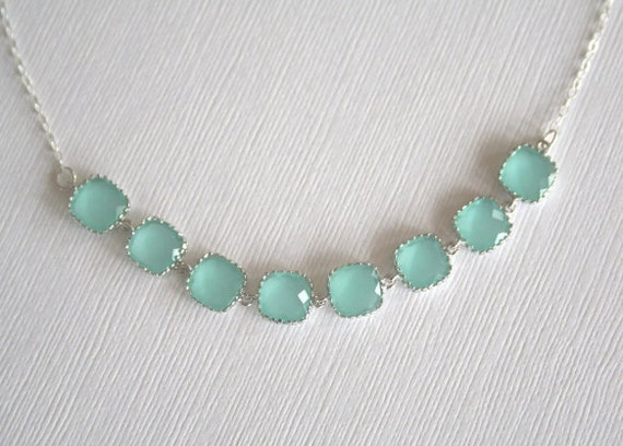 Mint Crystal Necklace in Sterling Silver.Mint Green Necklace.Light Mint.Lariat.Aqua Necklace.Bridesmaid Necklace.Silver Mint Necklace.Dainty
