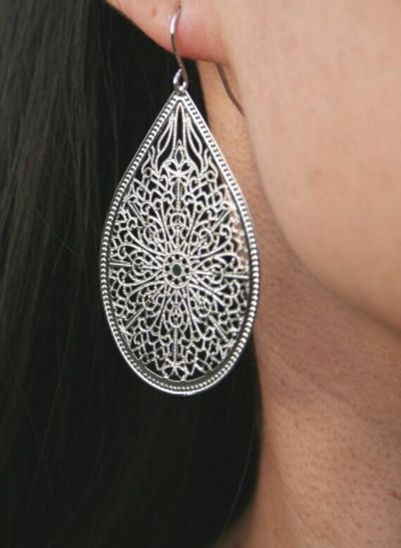 Silver Filigree Teardrop Earrings Bridesmaids By