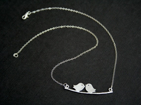 Bird Necklace in Silver. Love Bird Necklace. Bird on Branch Necklace.Family Bird Necklace.Silver Necklace.Simple.Everyday.Valentines Day.BFF