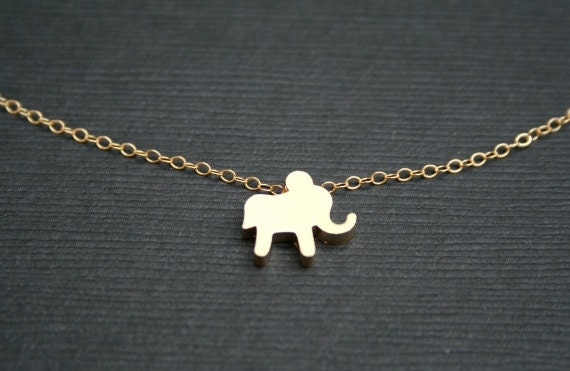 Gold Elephant Necklace. Small Elephant Necklace.Charm Necklace. Animal Necklace. Good Luck.Simple.Everyday.Layered Necklace.Minimalist.Gift