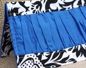 Checkbook cover - black and white damask with blue gather