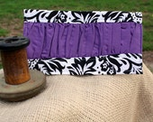 Checkbook cover - black and white damask with purple gather