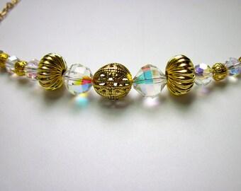 Golden Filigree Crystal Necklace (N714)