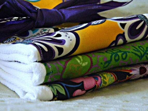 Baby girl burp cloths - bundle of 3