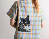 Black Cat Screenprint Plaid Vintage Blouse Rainbow Large Short Sleeve Farmer Button Up