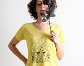 Dias De Los Muertos Shirt - Whimsical Girl Screen Print Shirt - Bright Lemon Yellow Wild Hair Lady - Small to Medium Sugar Skull