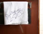 Narwhal Print Towel - Cotton Flour Sack Towel with Unicorn Nautical Screenprint