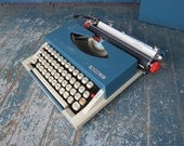 Red and Blue Portable Vintage Royal Typewriter in FINE WORKING ORDER