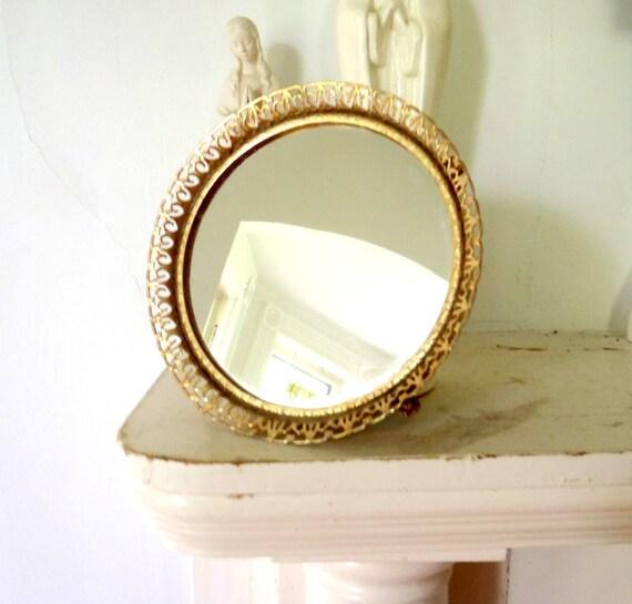 Hollywood Regency Antique Footed Vanity Mirror Tray