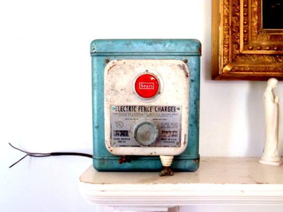 Aqua Blue 1950s Antique Sears Electric Fence Charger