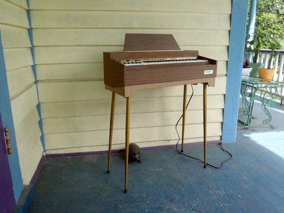 1960s Antique Piano Organ on Metal Hairpin Legs WORKS