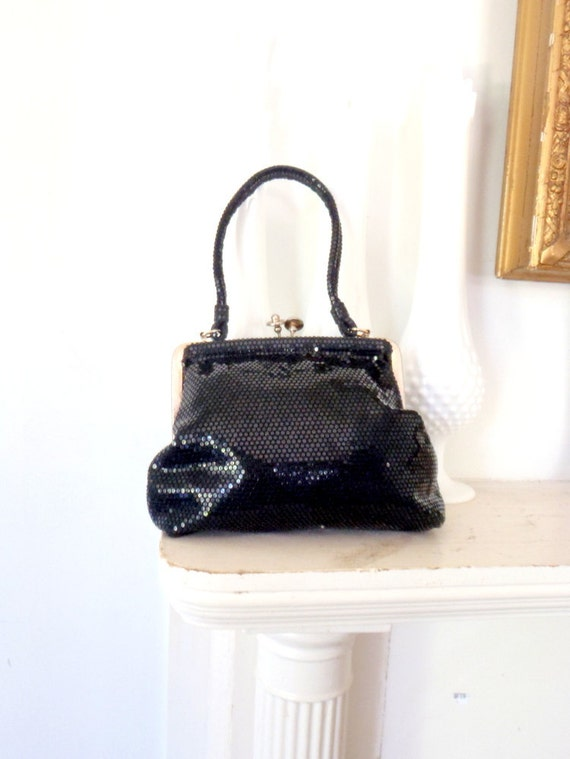 Antique Black Purse Sparkling and Shiny Evening Bag Handbag