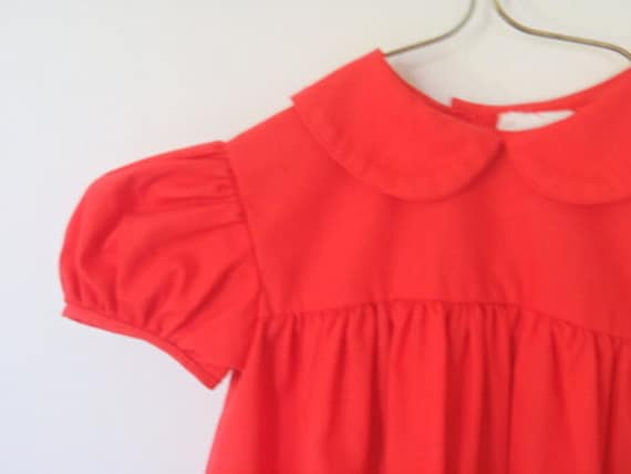 Vintage Baby Clothes Red Peter pan Collar Puff Sleeve Dress 12 months