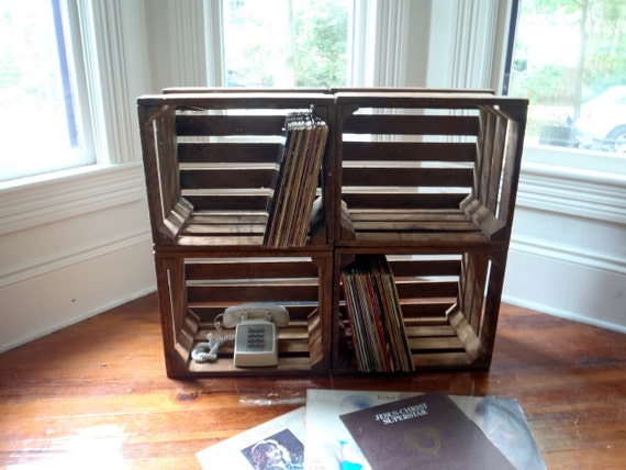 Wood Crate Rustic Crate Fruit Crate Large Crate LP Record Sized Box