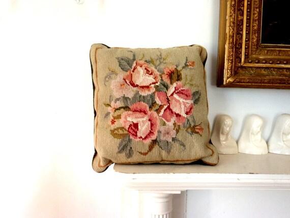 Needlepoint pIllow Pink Roses Green Velvet Vintage PIllow