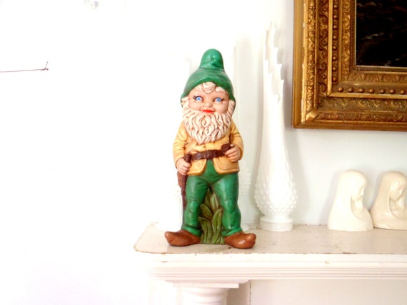 Life Sized Garden Gnome Ceramic Statue Vintage Elf