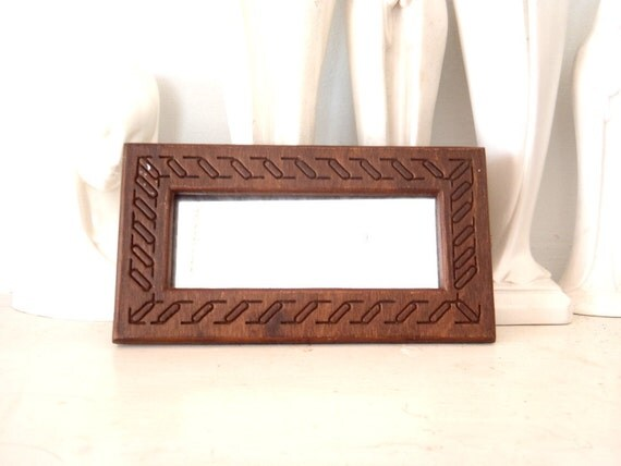 Antique Mirror Small Wood Frame