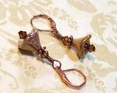 Flower Earrings - Vintage Look - Golden Tan Czech Glass Flower Dangle Earrings - Copper - Swarovski Crystals