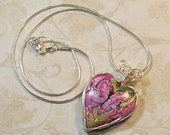 Butterfly Wire Wrapped Heart Shaped Pendant  -Shades of Pink Polymer Clay Heart Focal Bead with Butterfly - Wire Wrapped Pendant Necklace