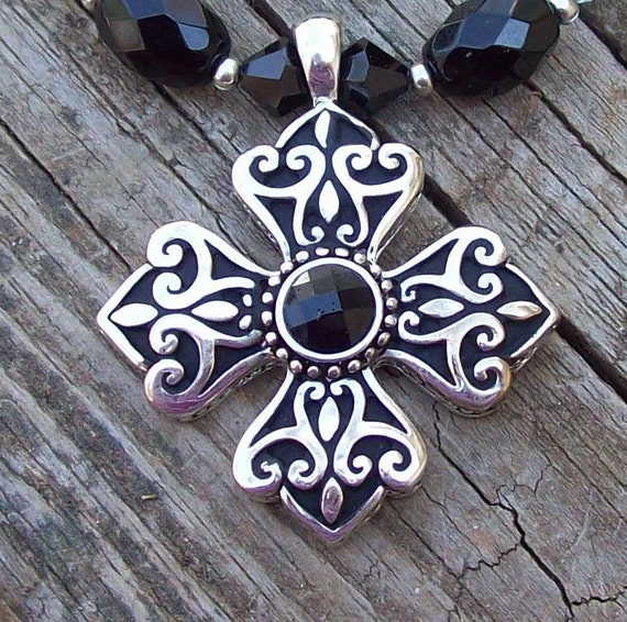 Cross Necklace - Beautiful Black and Silvertone Cross Necklace - with swarovski crystals - Cross Pendant Necklace