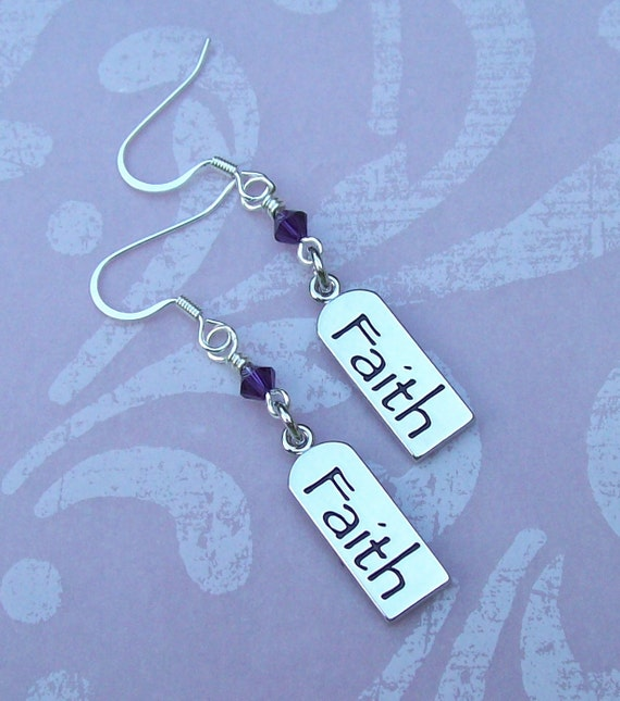 By His Grace Inspirations - Inspiring Silvertone Faith Tag Charm Dangle Earrings with Purple Velvet Swarovski Crystals