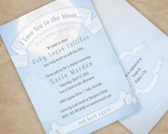 Love you to the Moon Baby Shower Invitation