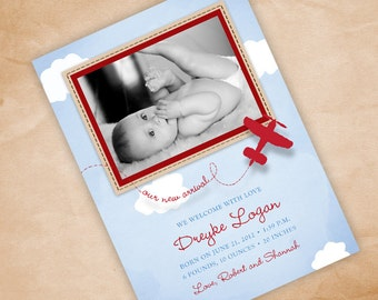 Airplane Themed Print Your Own Birth Announcement