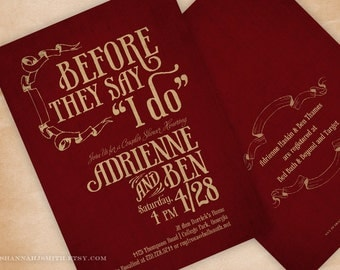 Couple's Wedding Shower Invitation • Printed Bridal Shower Announcement • Before They Say I Do
