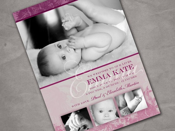 Heraldry Baby Girl Birth Announcement