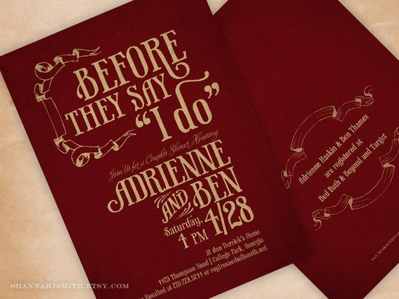 Wedding Shower Invitations For Couples: Couple's Wedding Shower Invitation Printed Bridal Shower